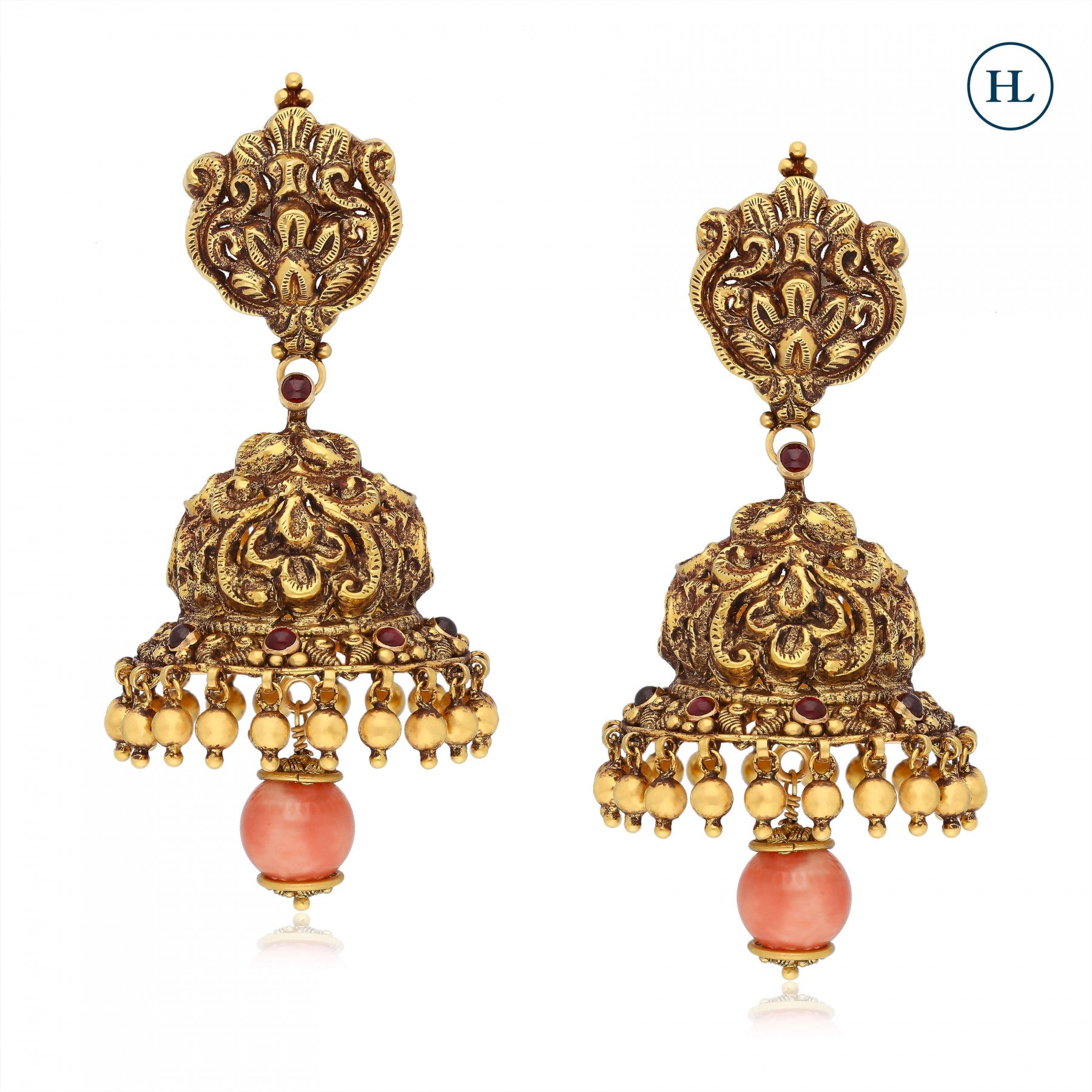 Gold & Coral Earrings