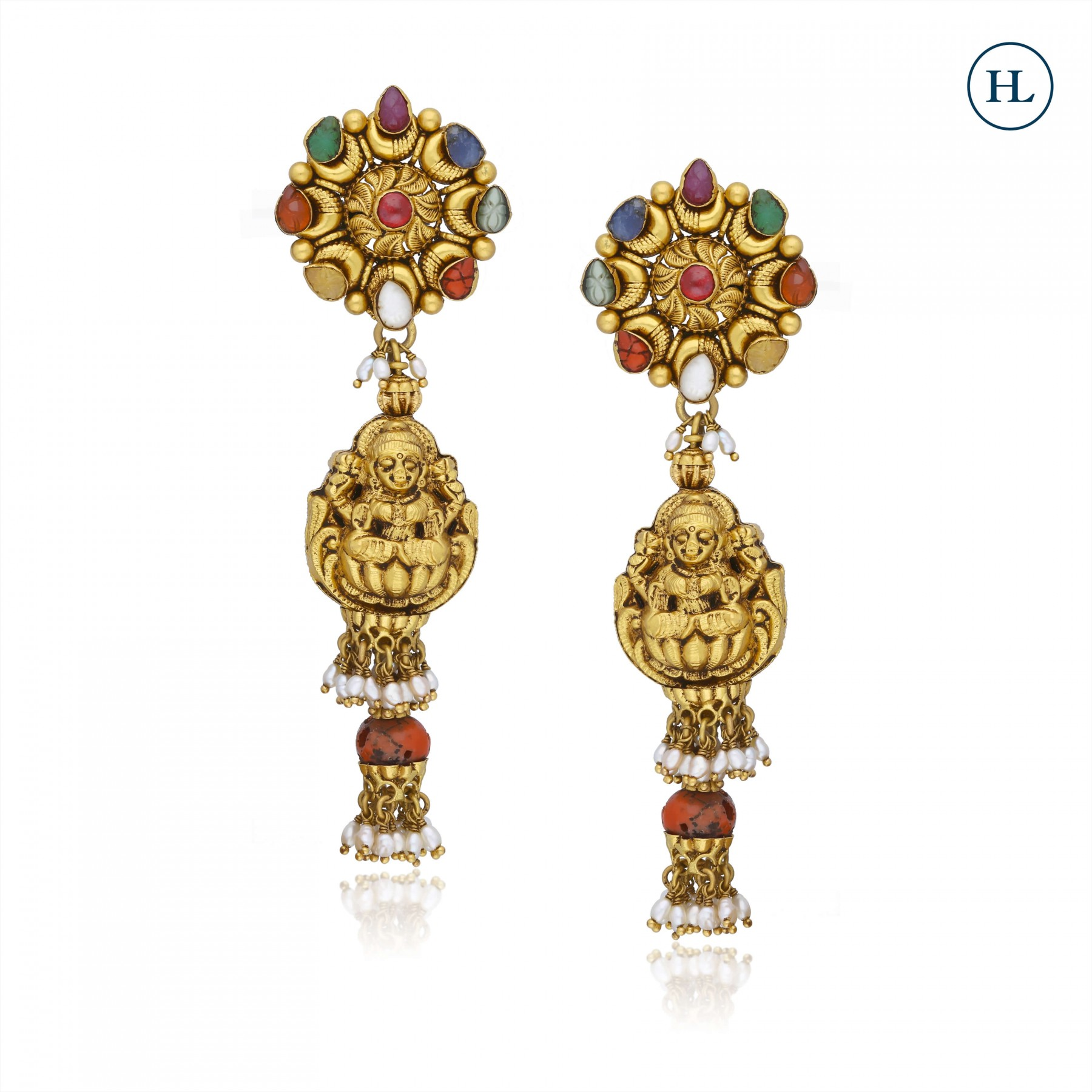 Navratan Gold Earrings