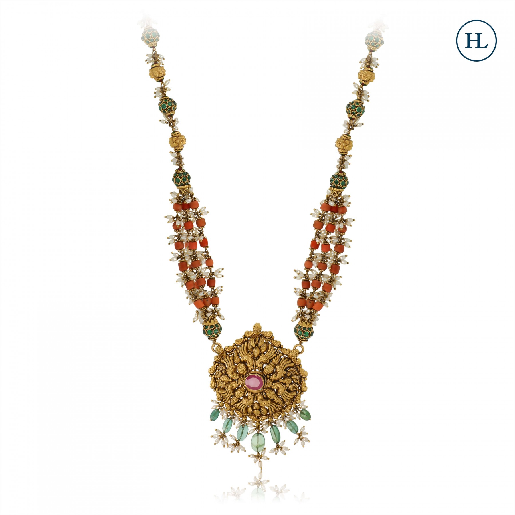 Antique-Styled Coral & Gold Pendant