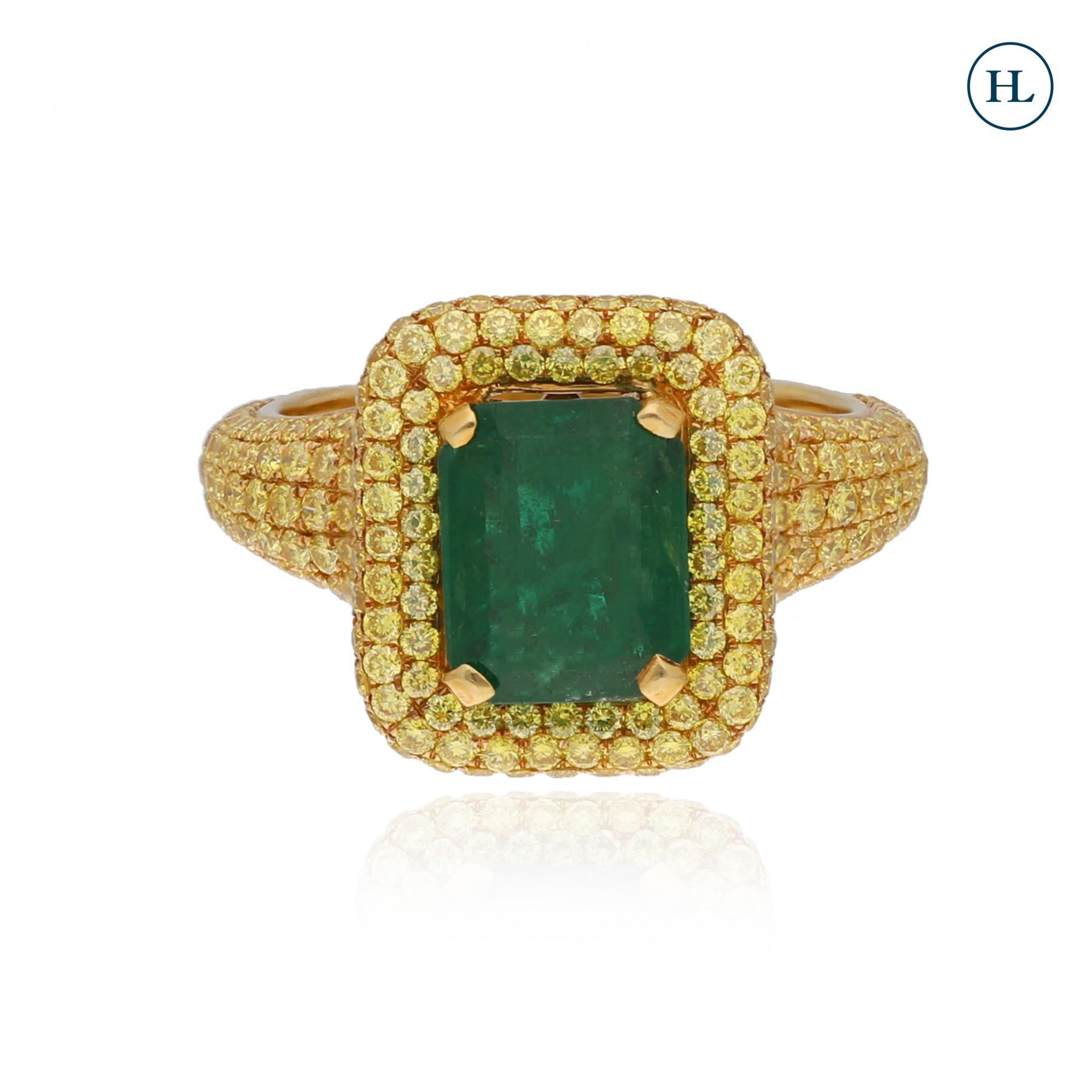Yellow Diamond Emerald Ring