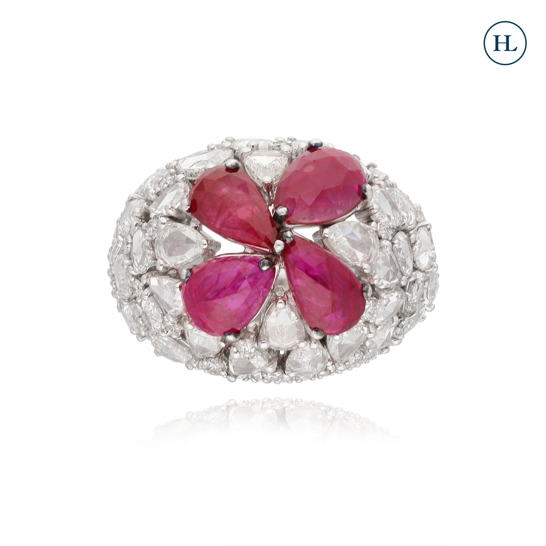 Ruby Petals Diamond Ring
