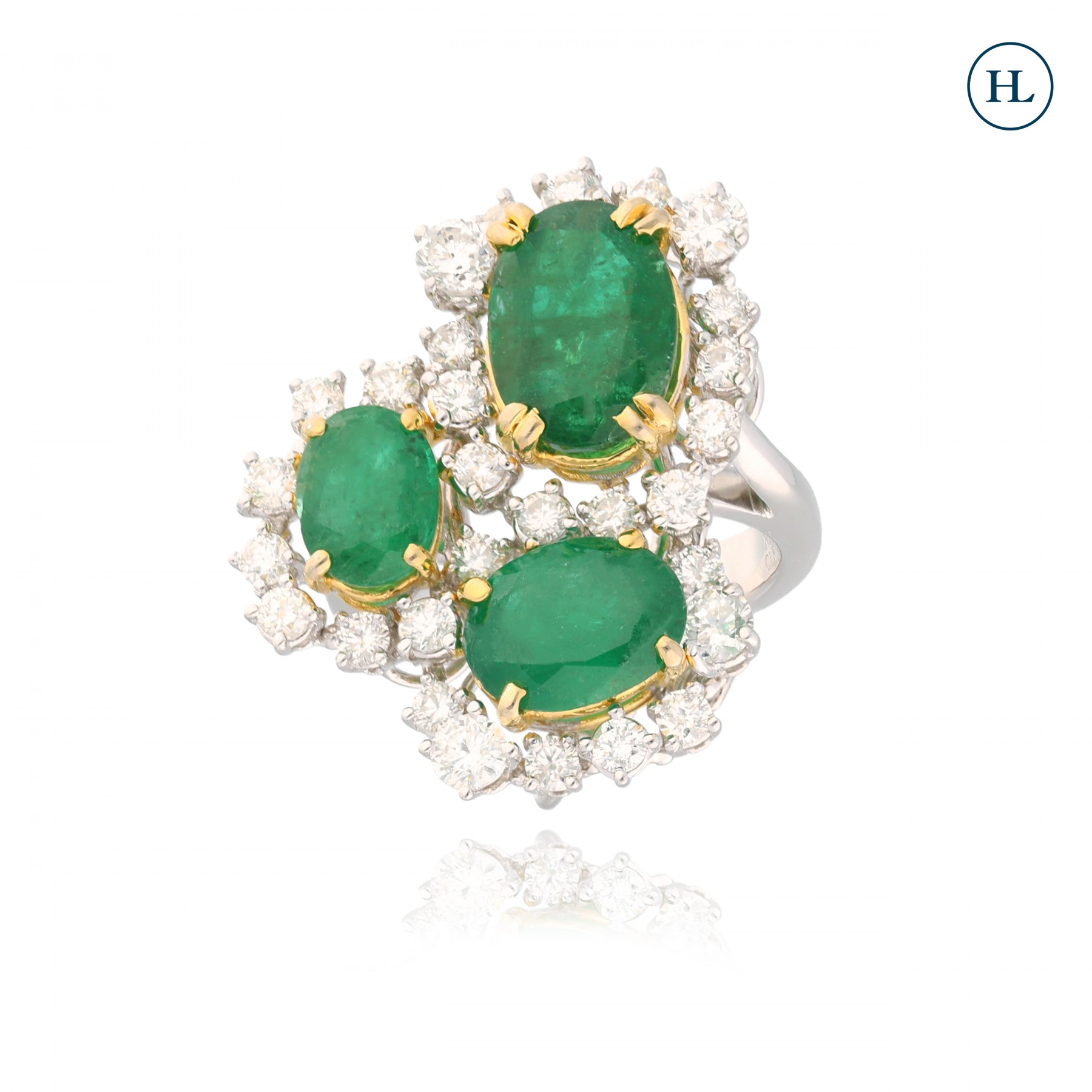 Triple Floral Emerald Diamond Ring