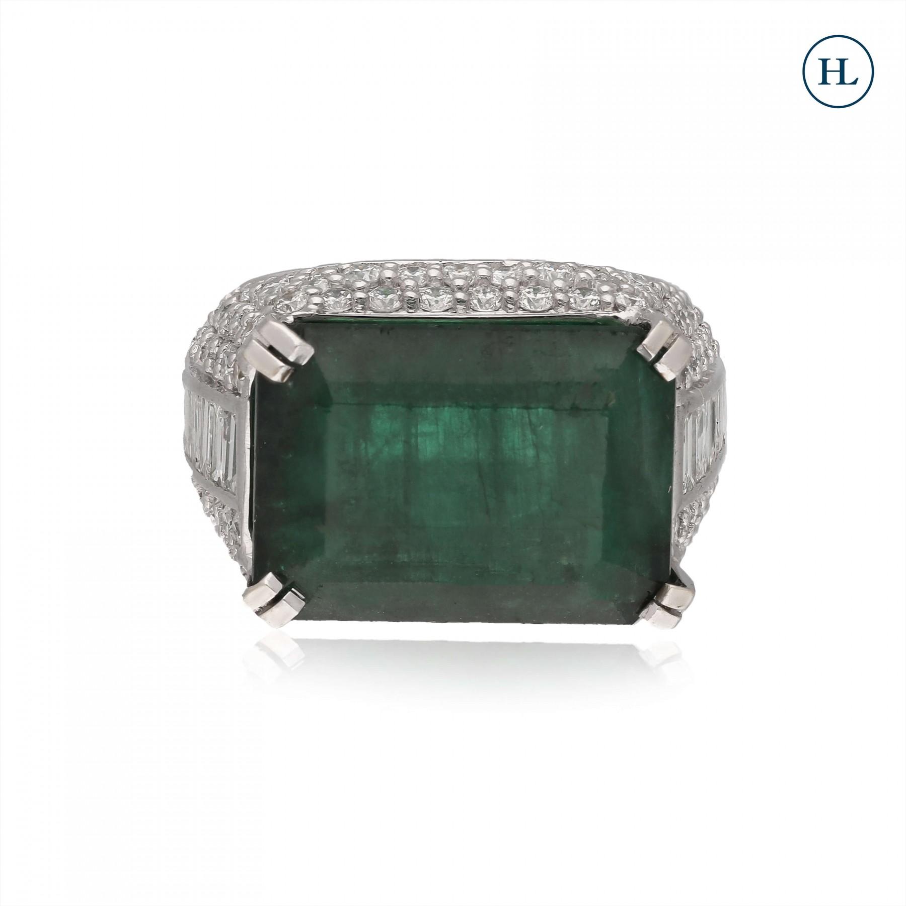 Square Emerald & Diamond Ring