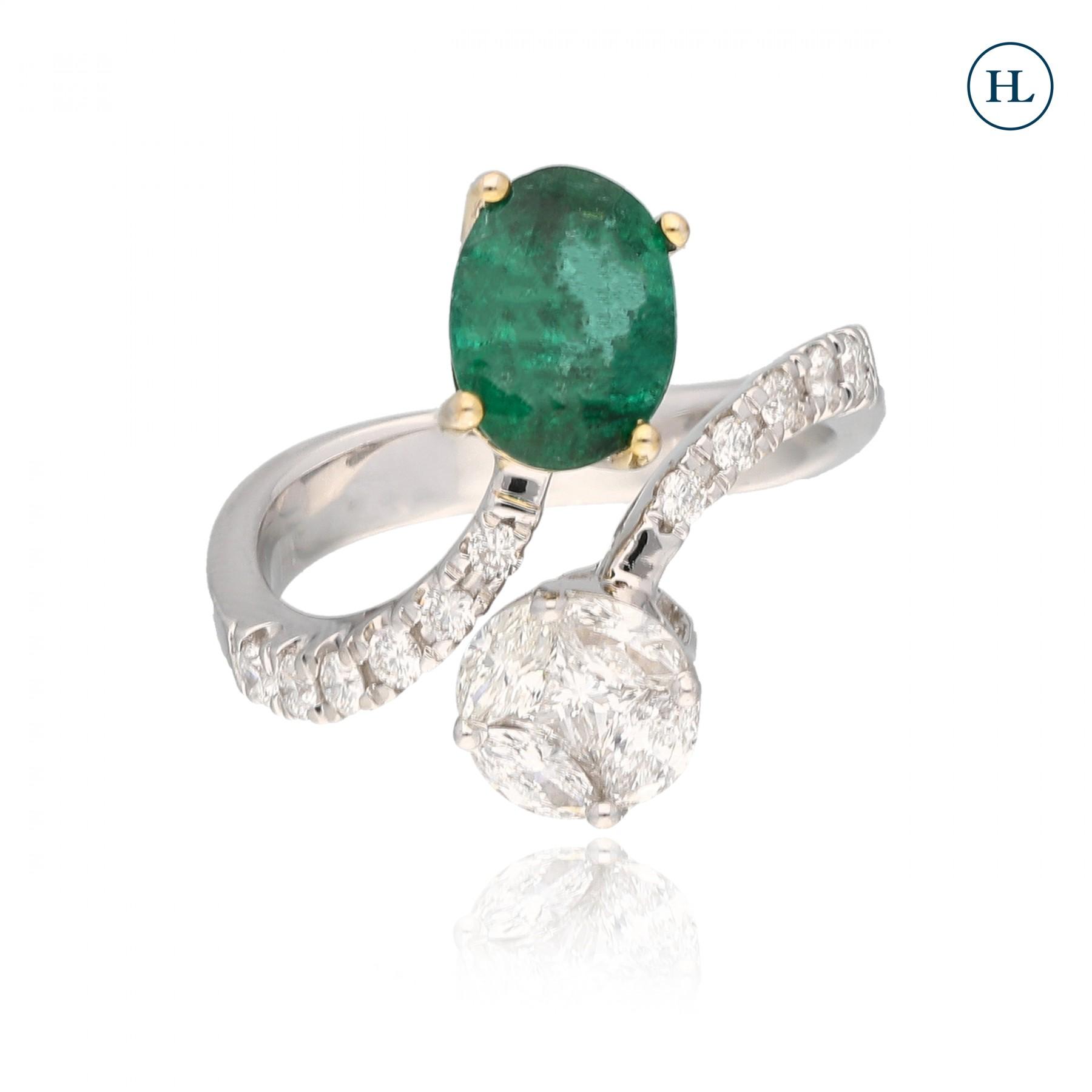 Emerald Diamond Twister Ring