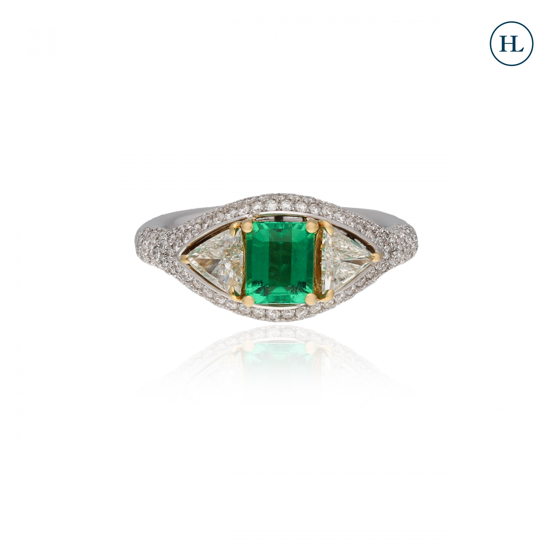 Trilliant Cut Diamond & Emerald Ring
