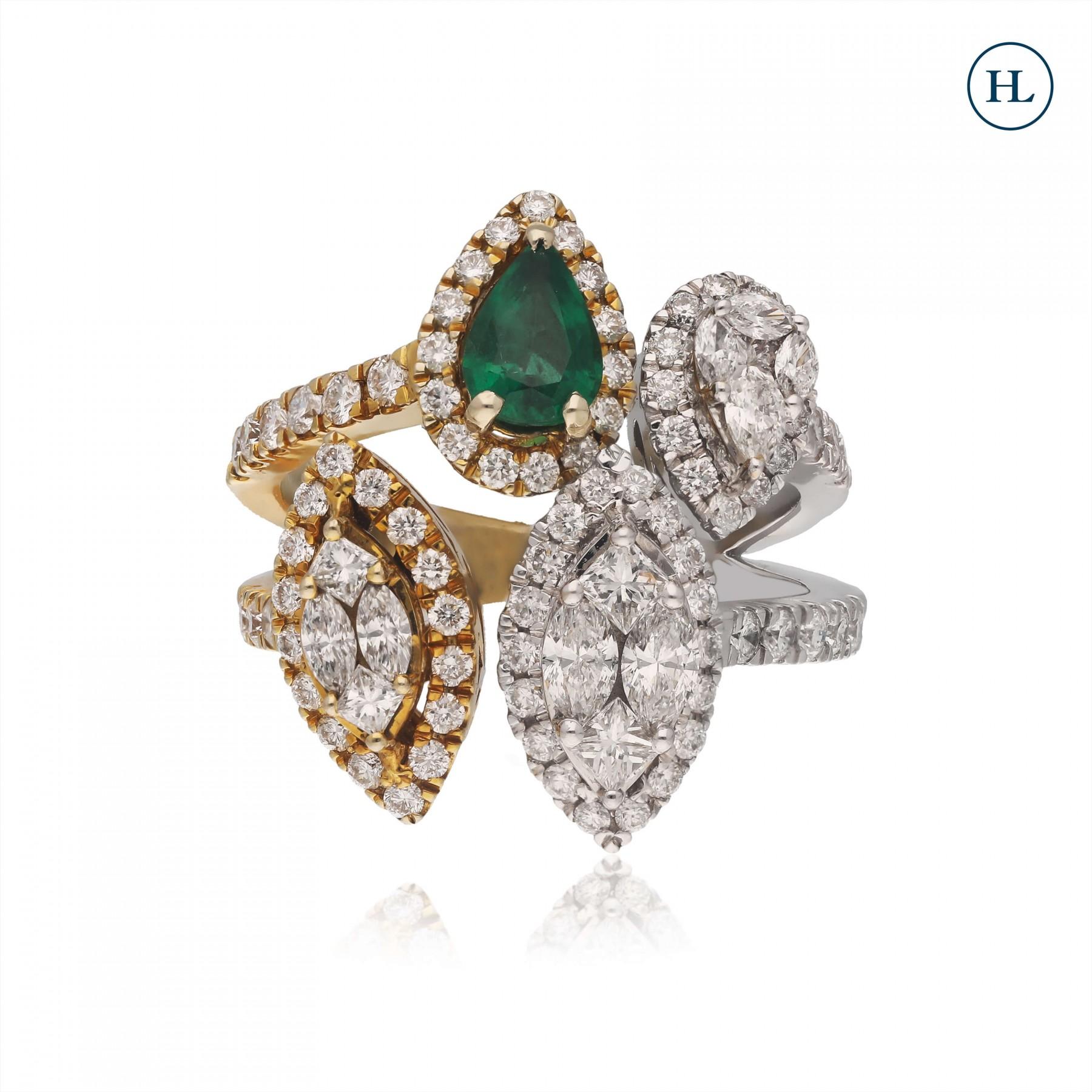 Dual Tone Drop Emerald & Diamond Ring
