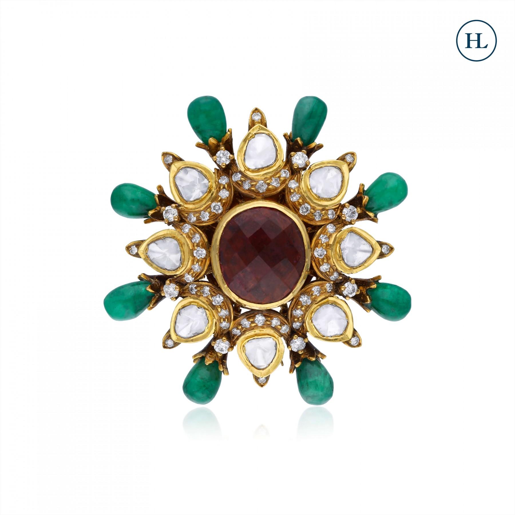 Emerald Diamond & Polki Ring