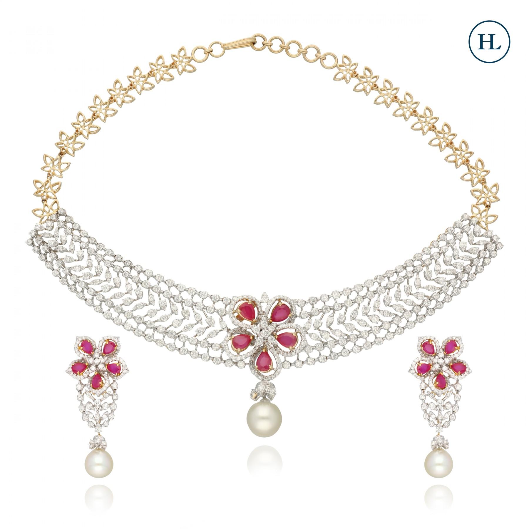 Red Flower & Diamond Necklace Set