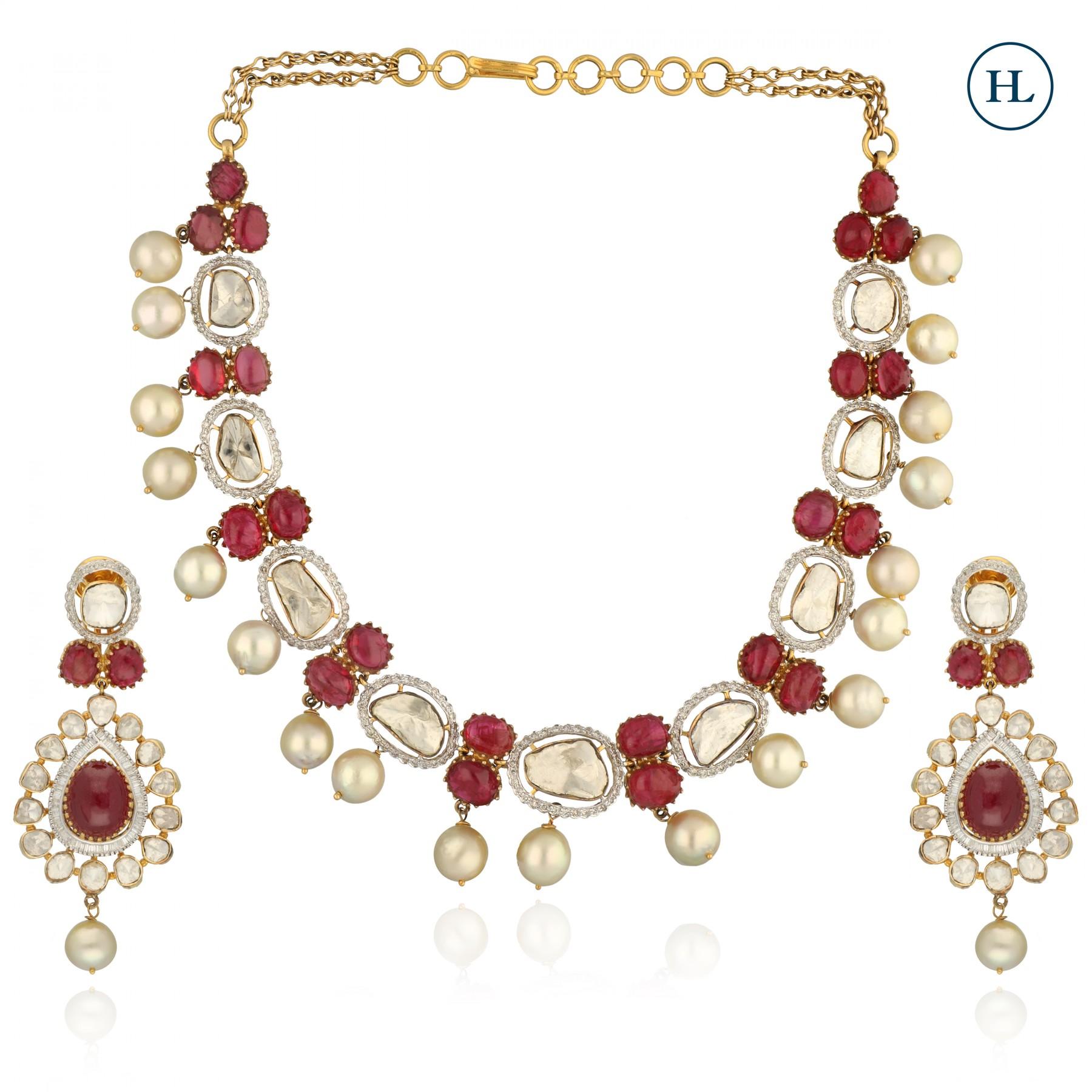Uncut Diamond & Cabochon Ruby Fusion Necklace Set