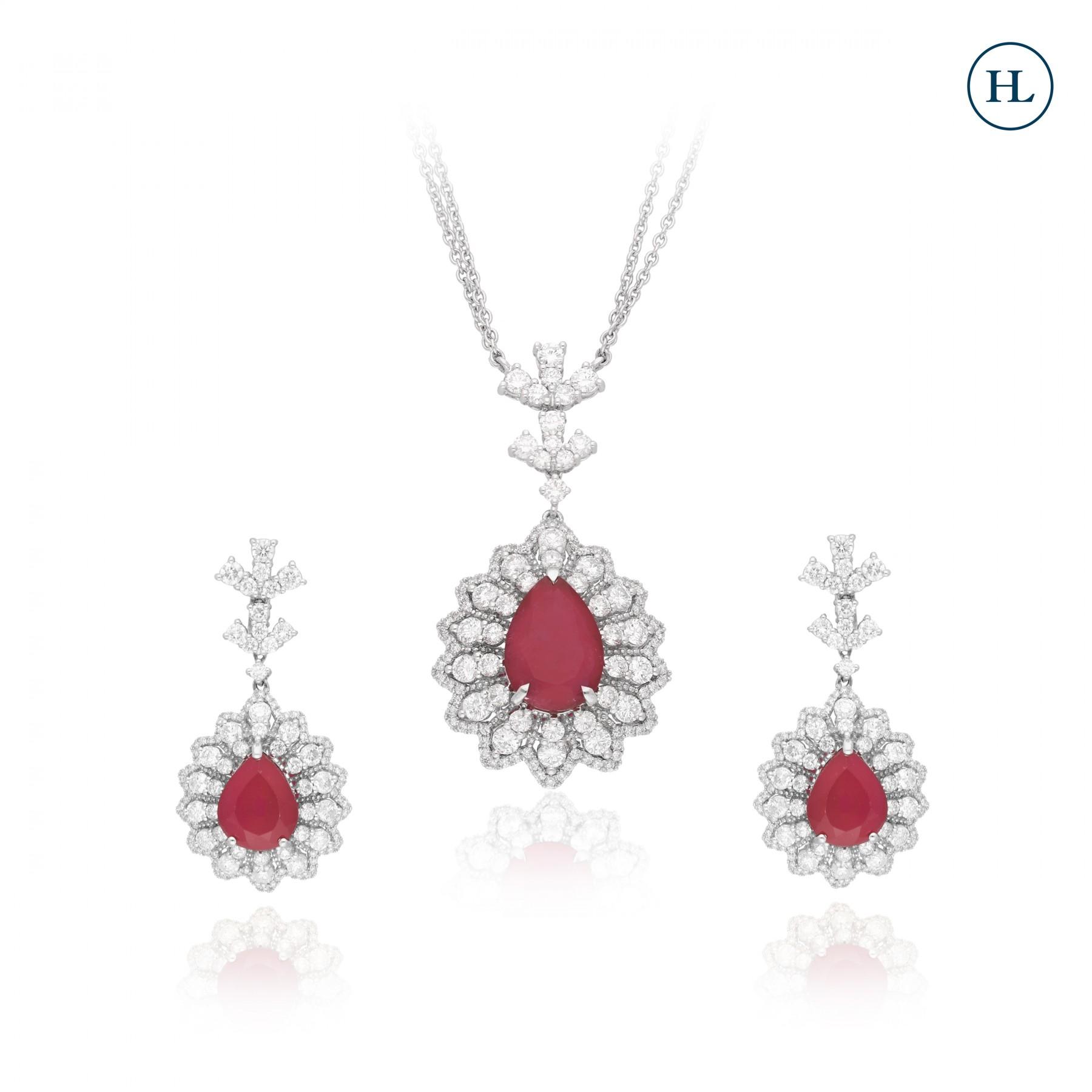 Diamond Floret Pendant Set