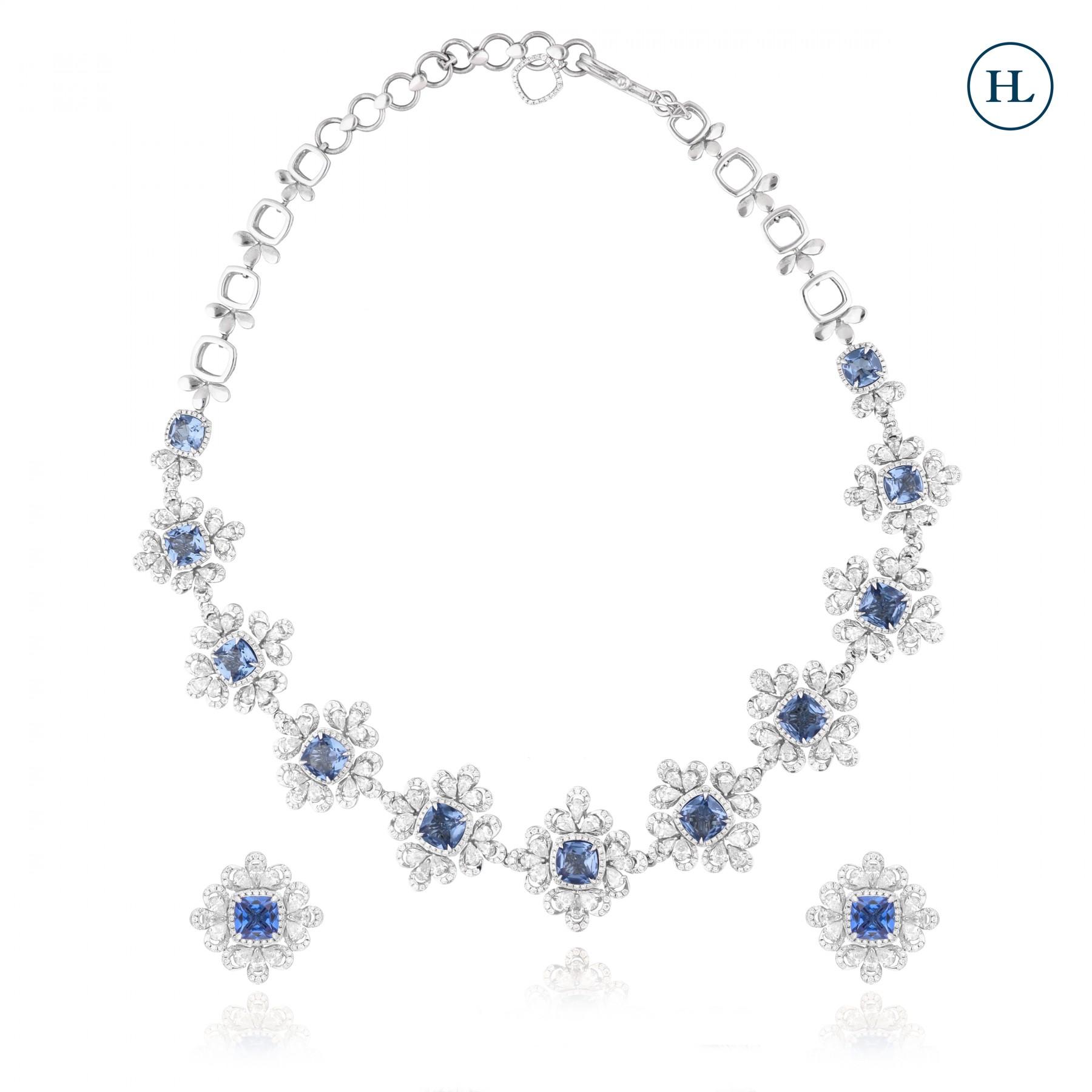 Blue Floral Diamond Necklace Set