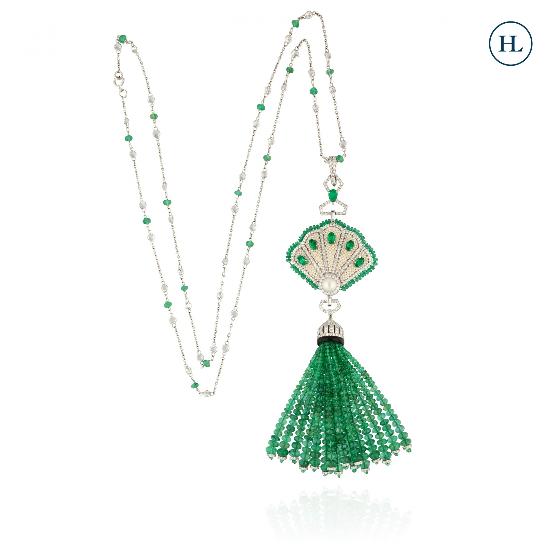 Fan Pearl Emerald Diamond Tassel