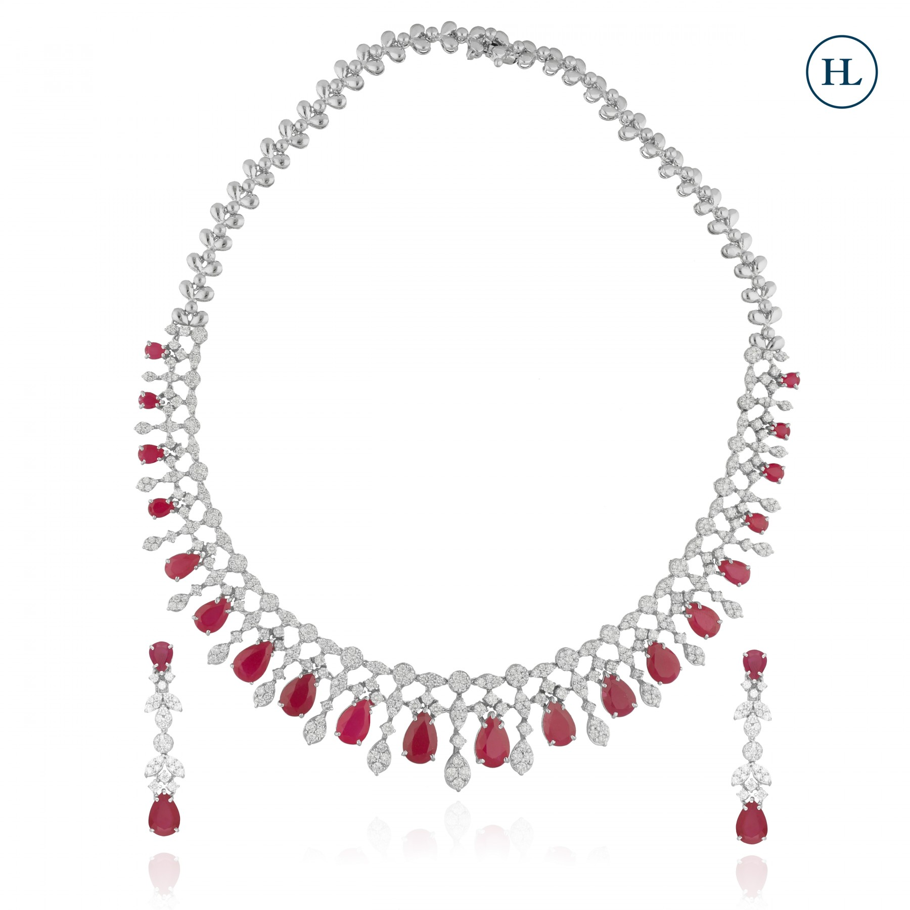 Red Pears & Diamond Necklace Set