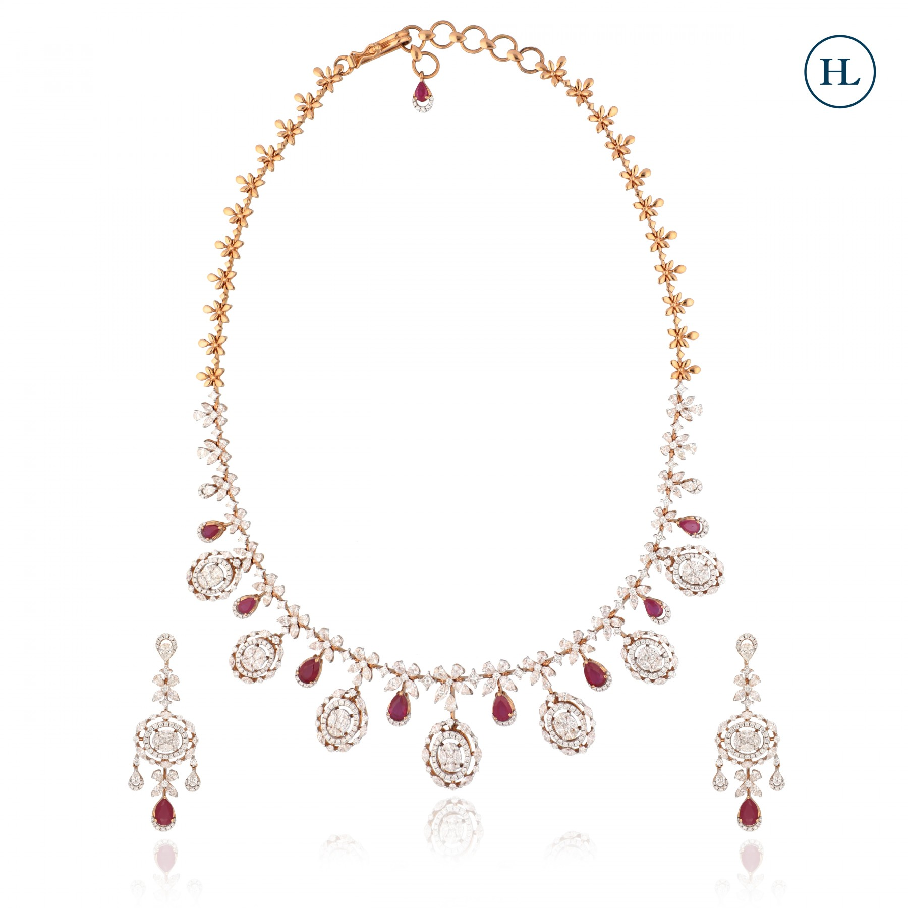 Rivera Ruby Diamond Necklace Set