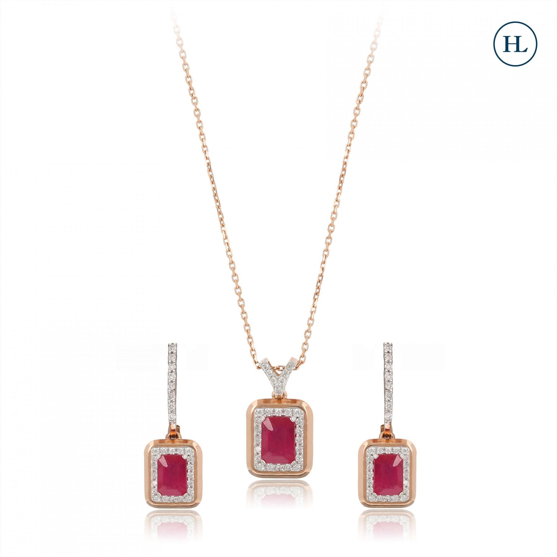 Ruby & Diamond Pendant Set