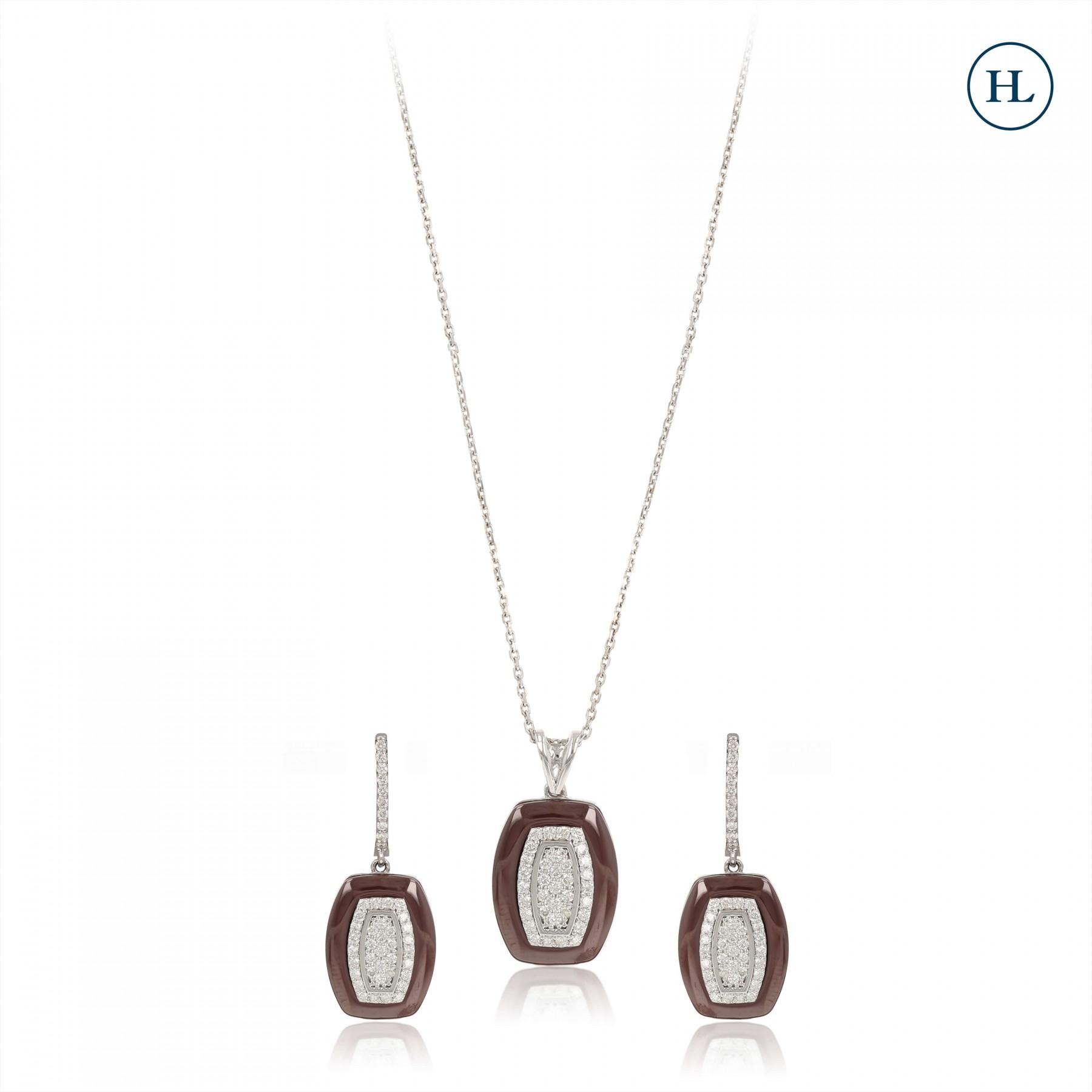 Enamel Diamond Pendant Set