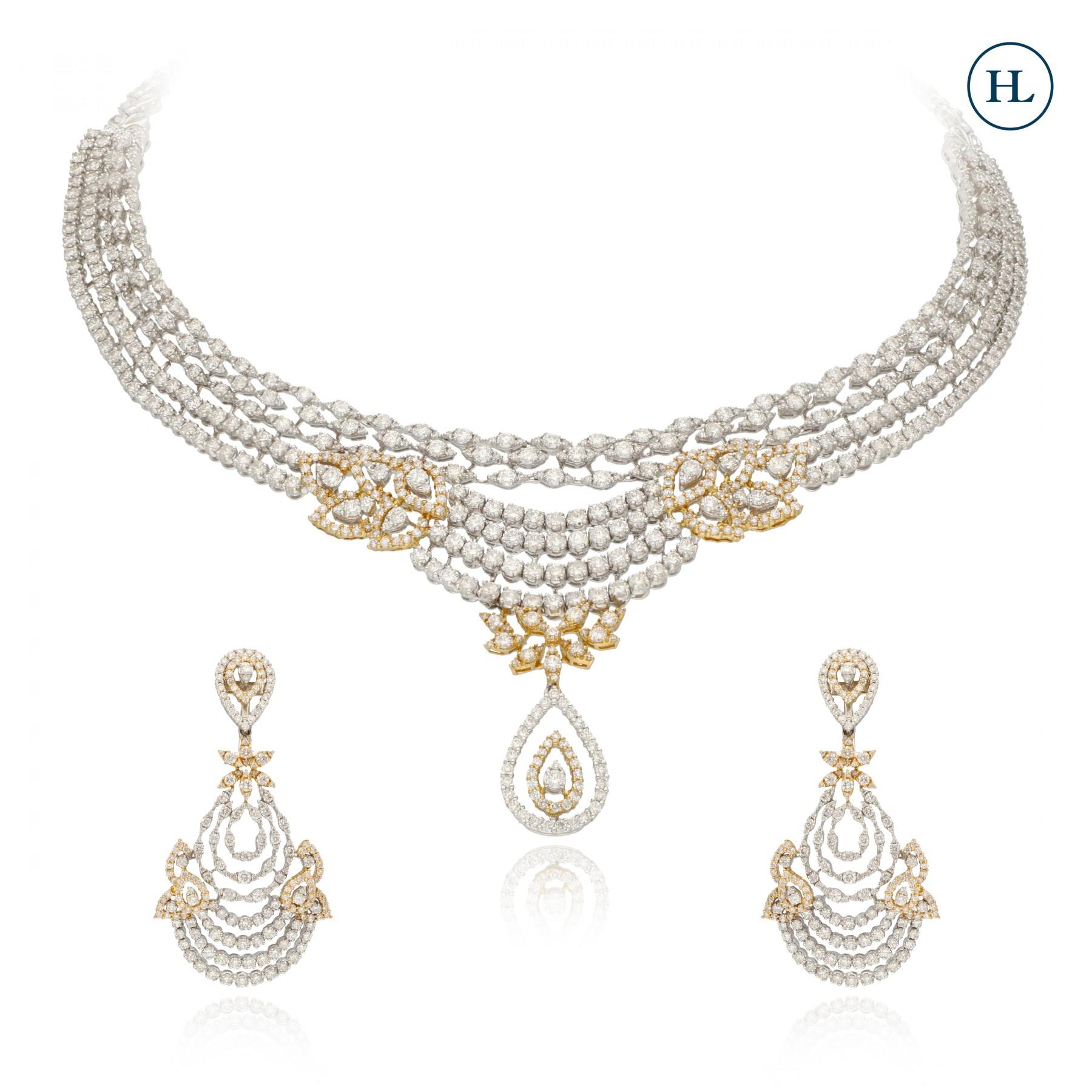 Leaf Diamond Necklace Set