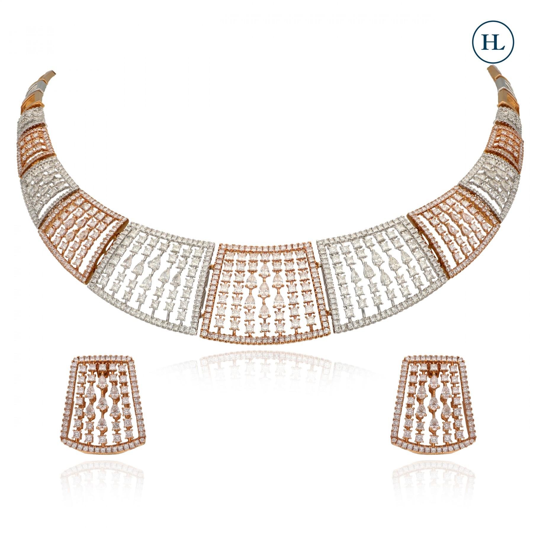 Fancy Cube Diamond Necklace Set