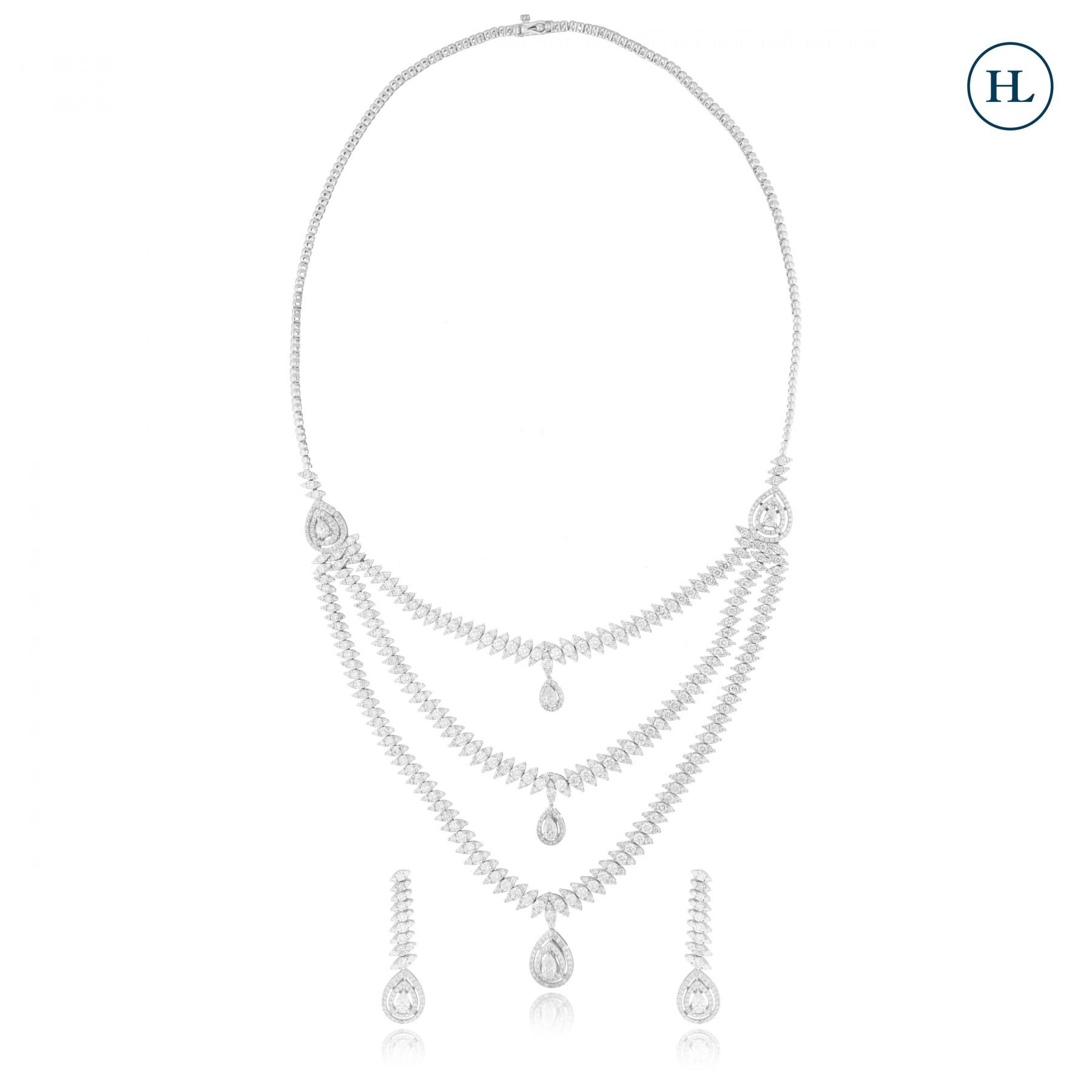 Three Lines Diamond Necklace Set