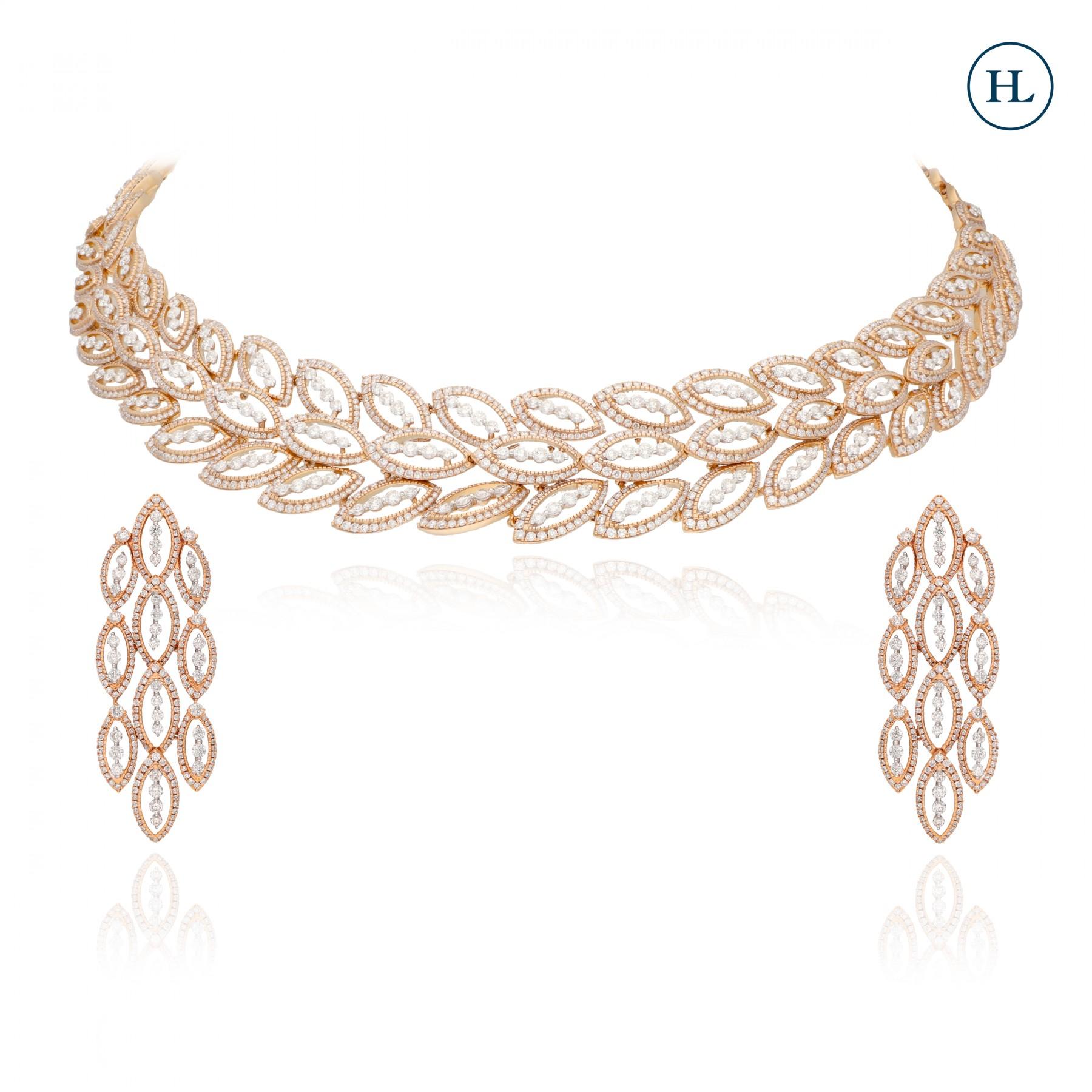 Leafy Line Diamond Necklace Set