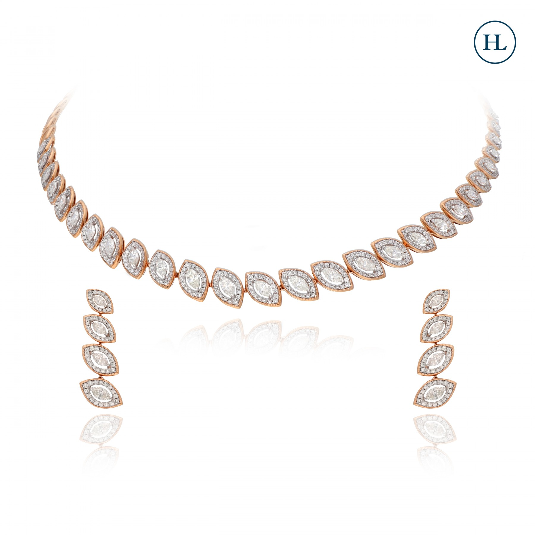 Elegant Leaves Diamond Necklace Set