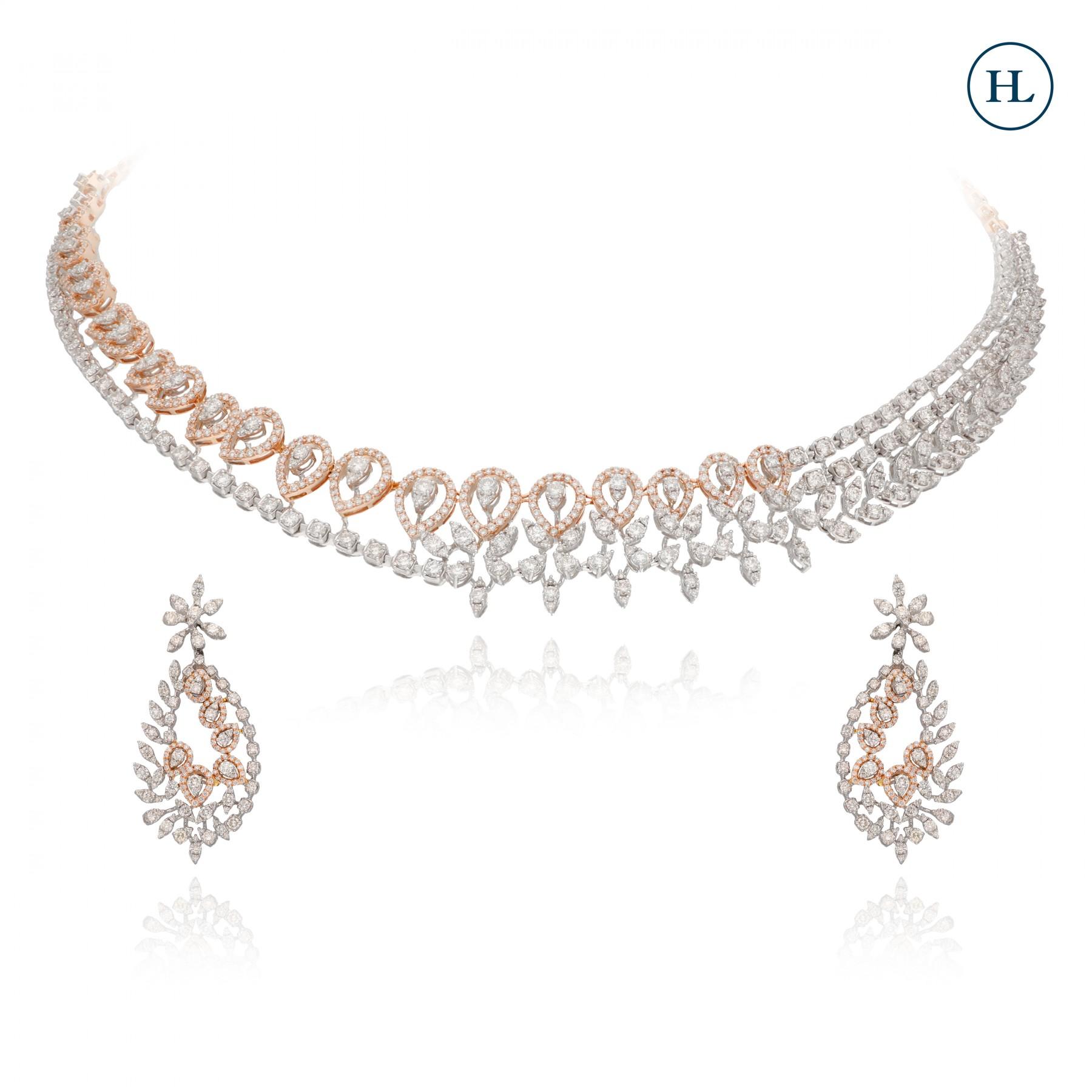 Dual Tone Diamond Necklace Set