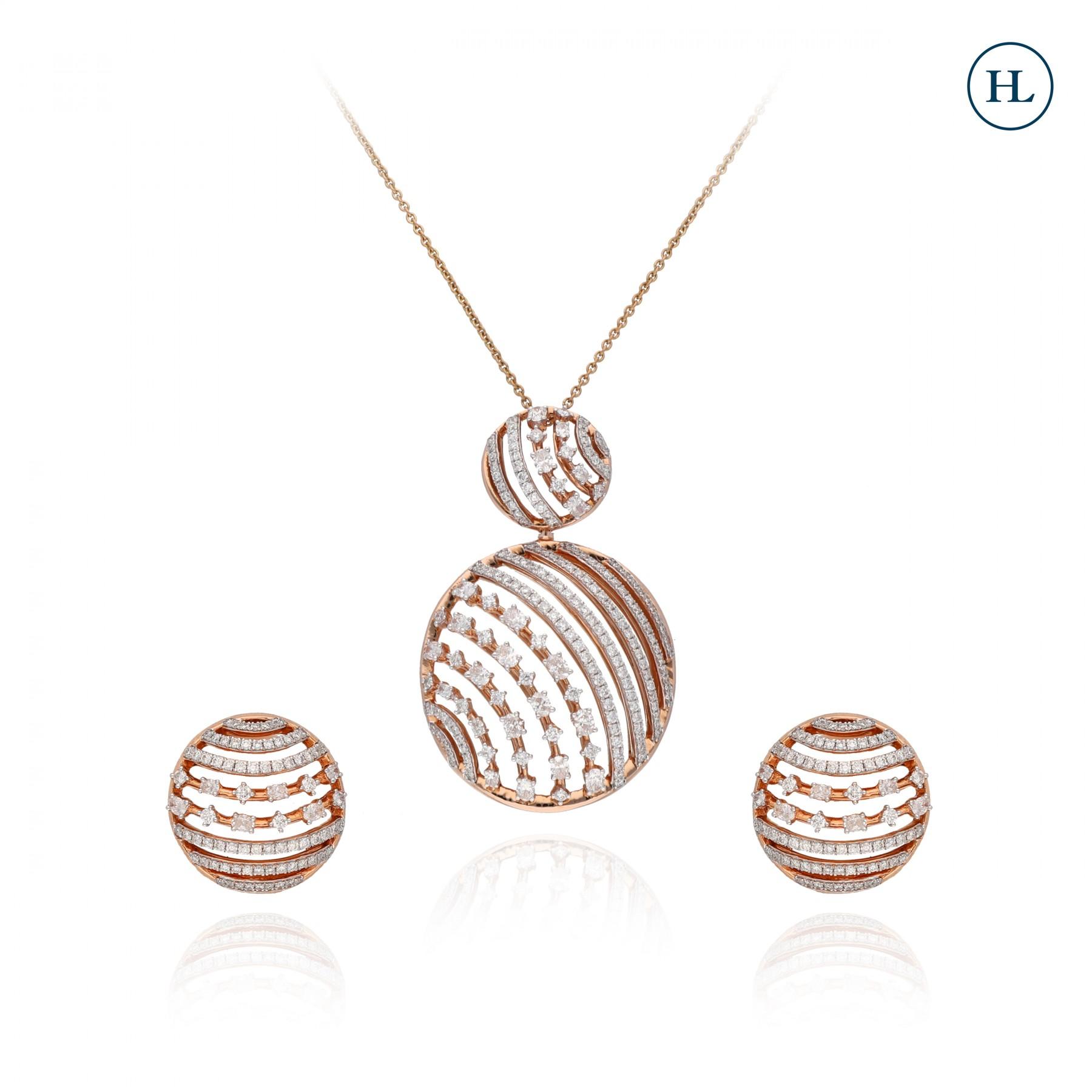 Classy Rose Diamond Pendant Set