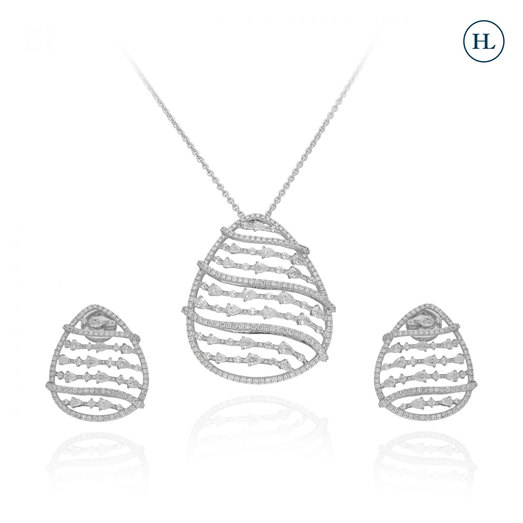 Zigzag Diamond Pendant Set