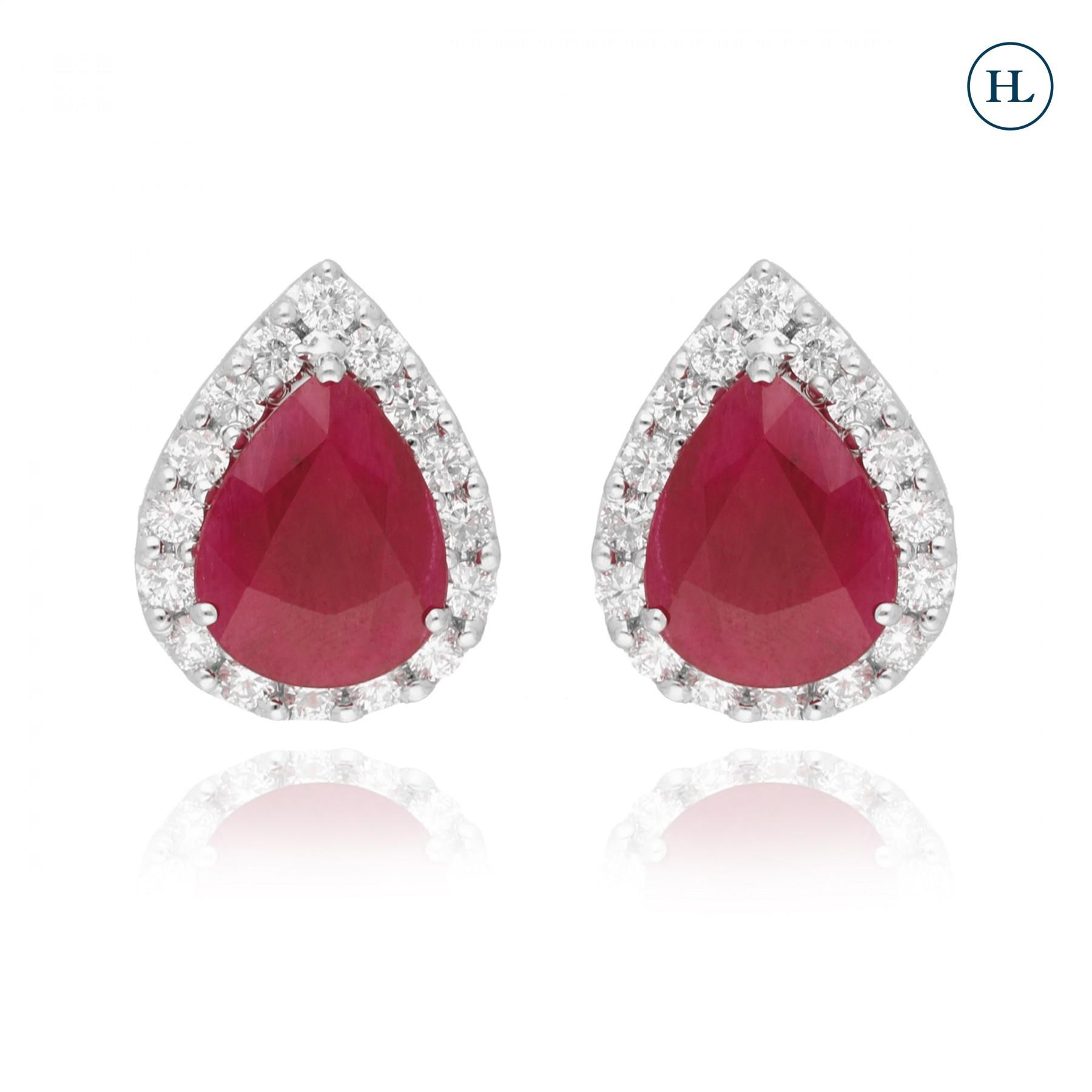 Pear Ruby & Diamond Studs