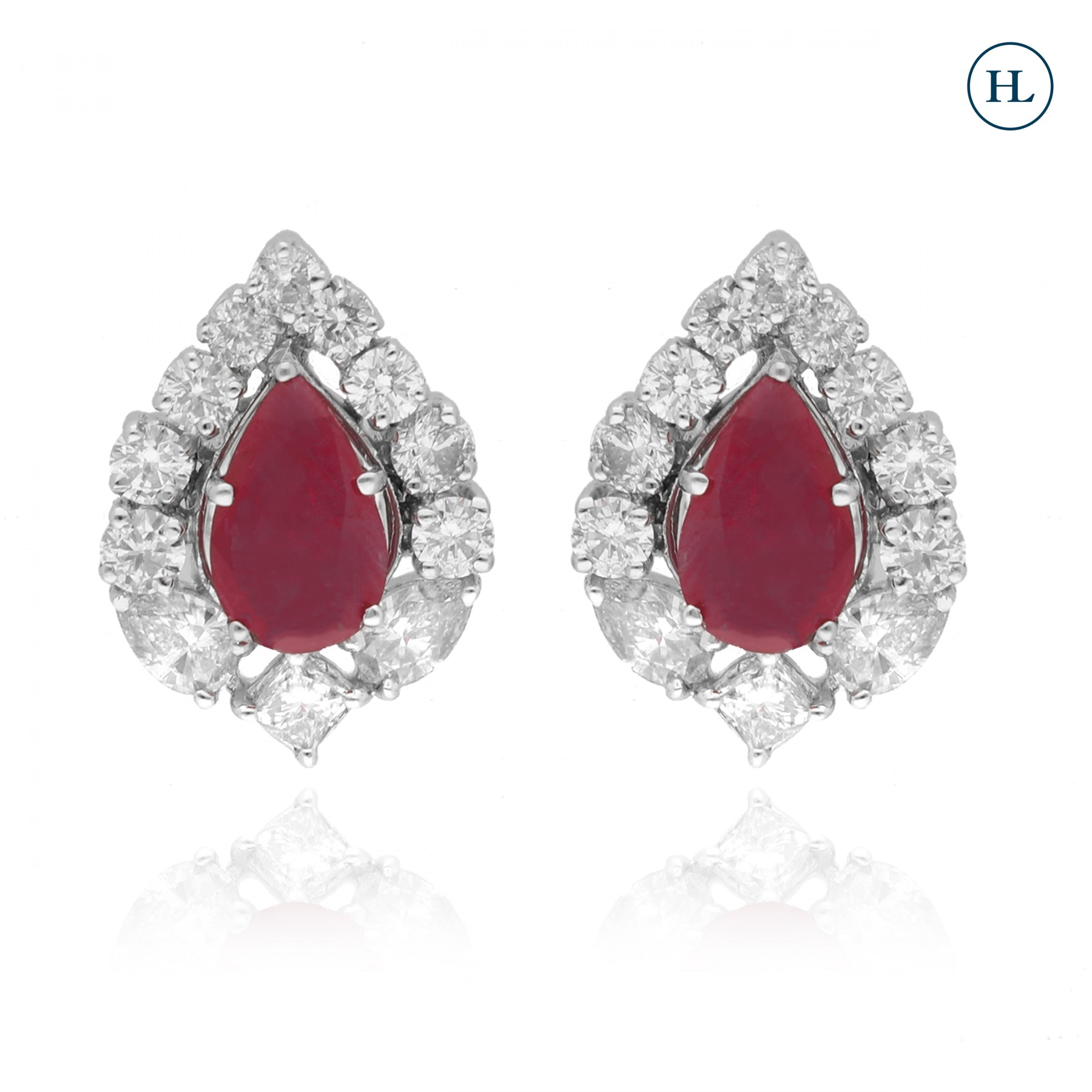 Pear Ruby & Diamond Studs
