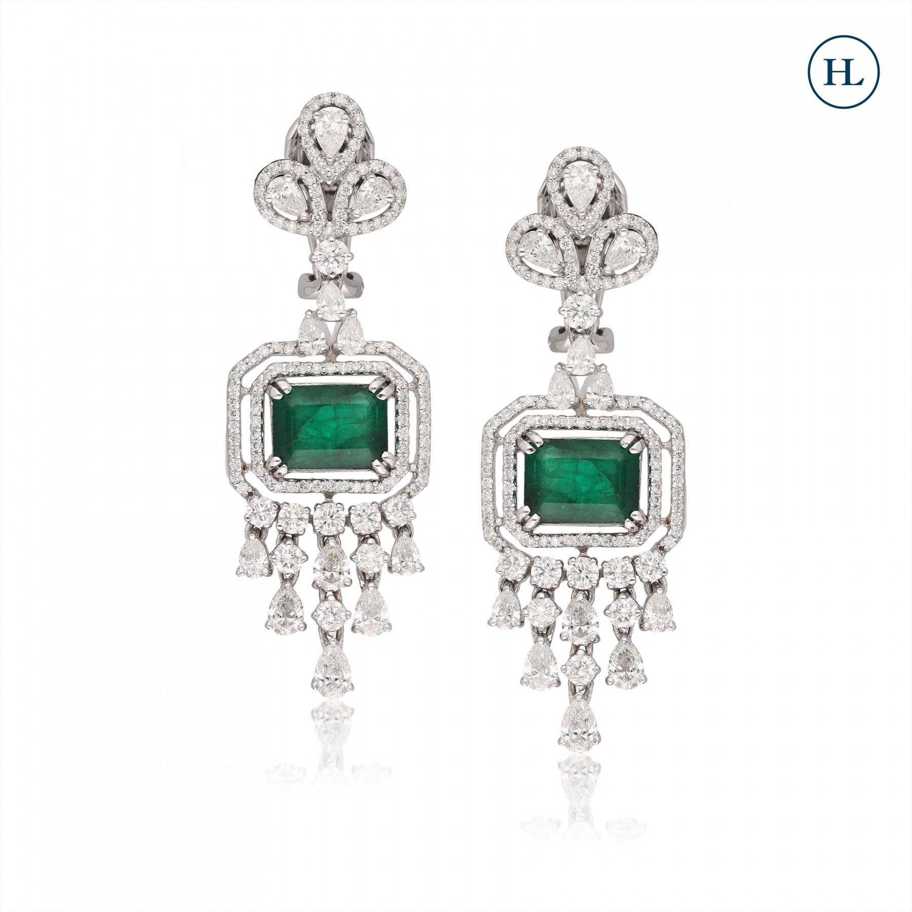 Drop Emerald & Diamond Earrings