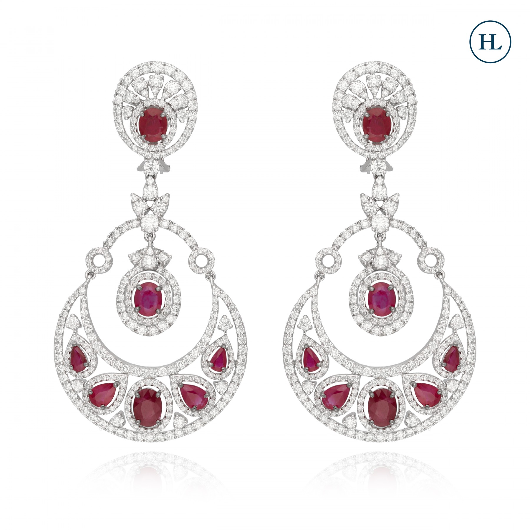Diamond & Ruby Chandbali