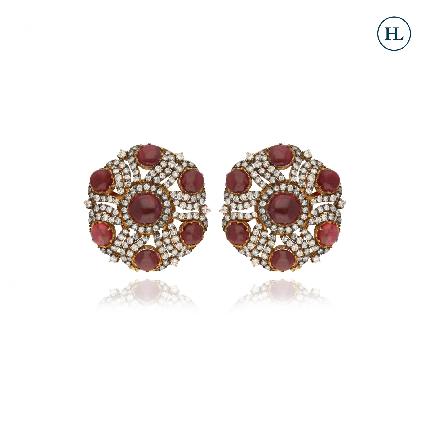 Antique-Styled Diamonds & Ruby Earrings