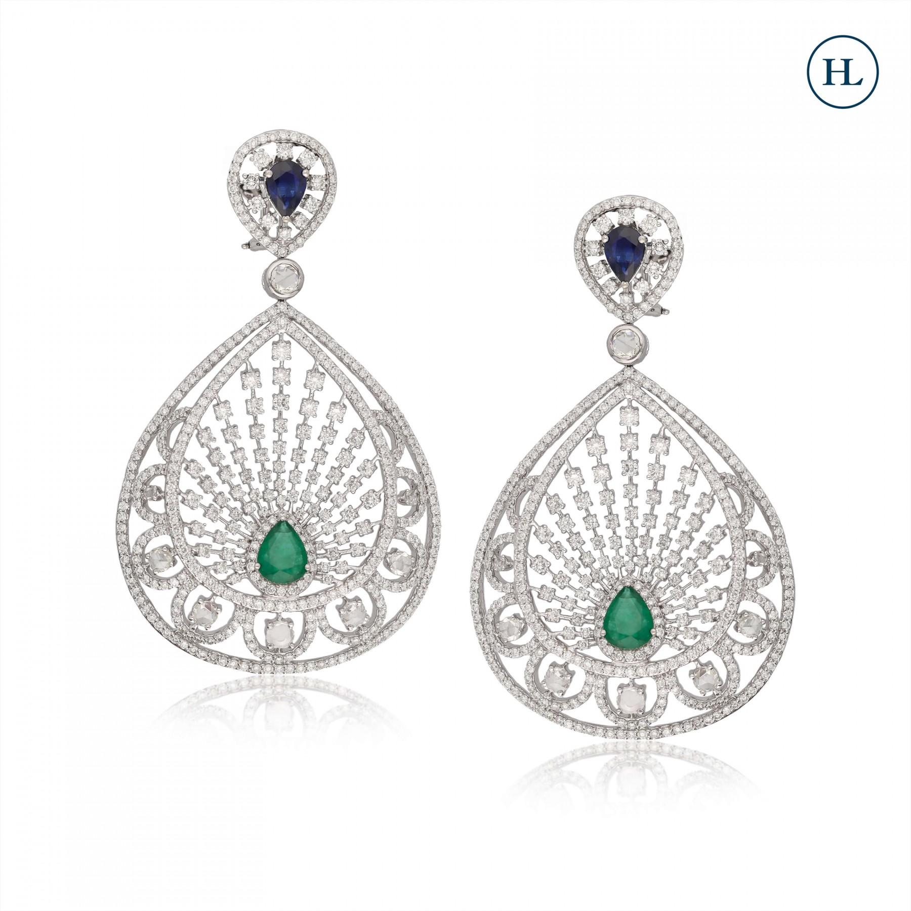 Blue Drop Sapphire & Diamond Earrings