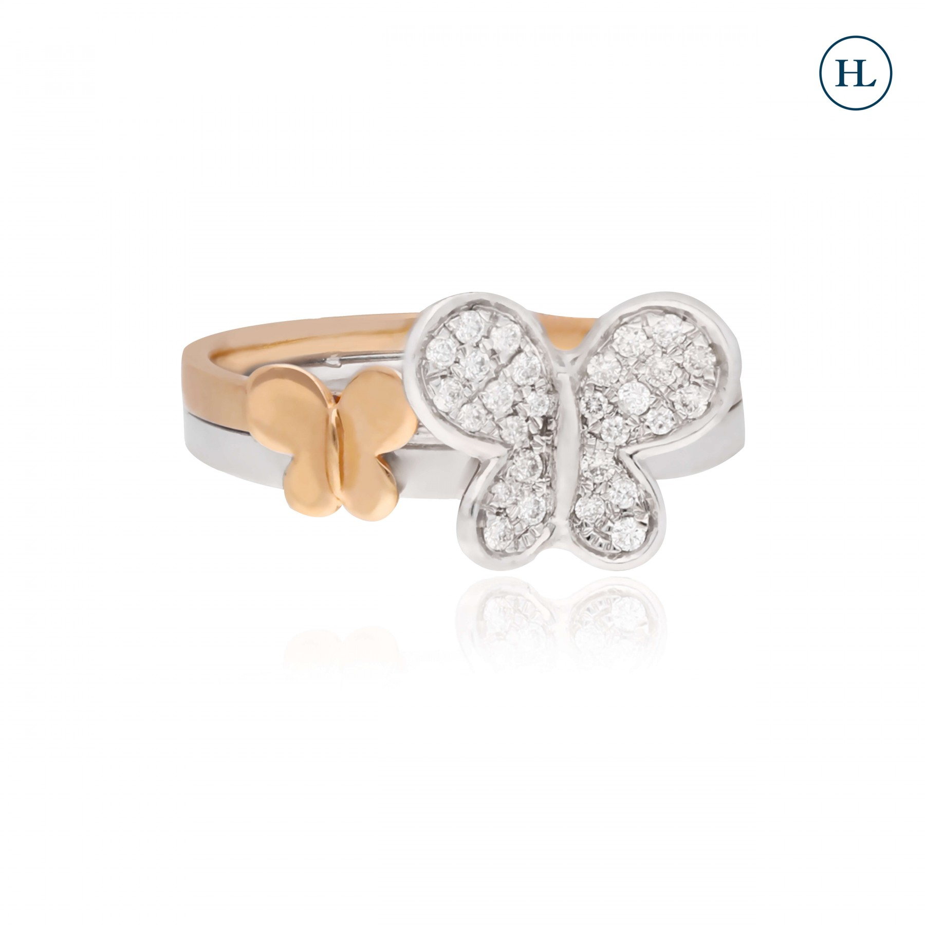 Dual Tone Butterfly Diamond Ring