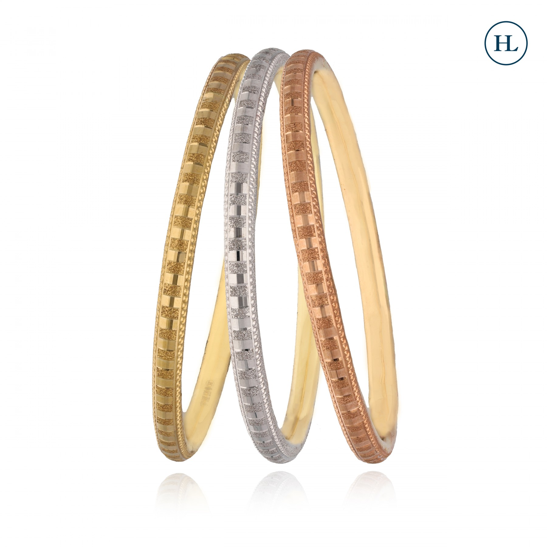 Tri Colour Gold Bangles