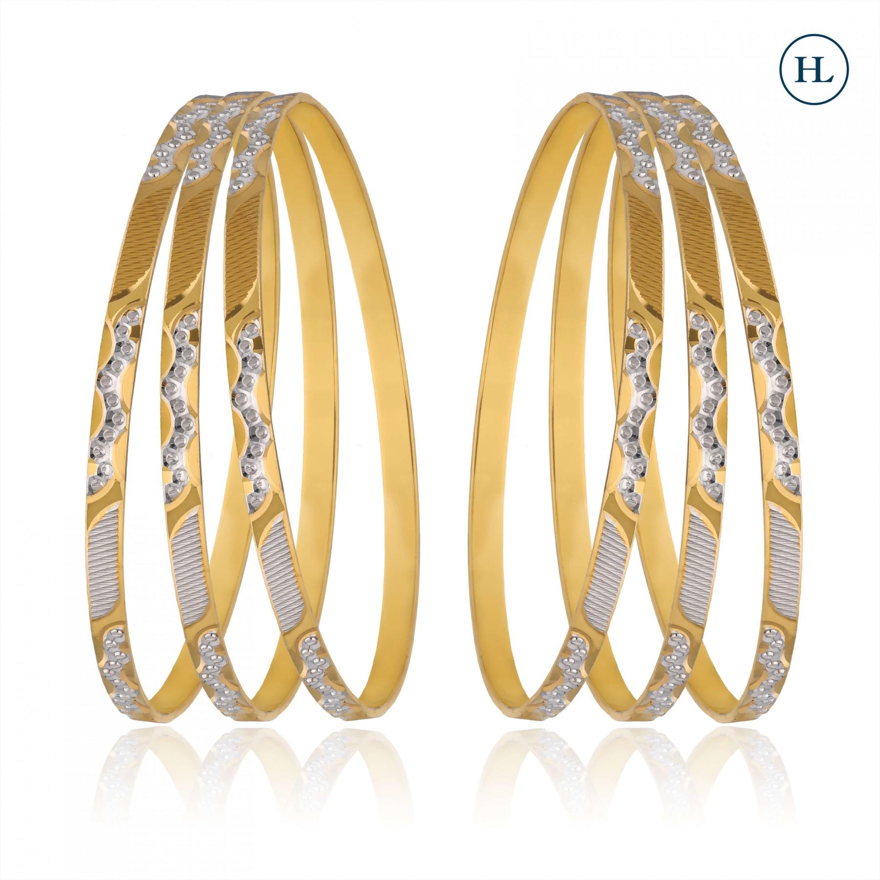 Dual Tone Sleek Gold Bangles