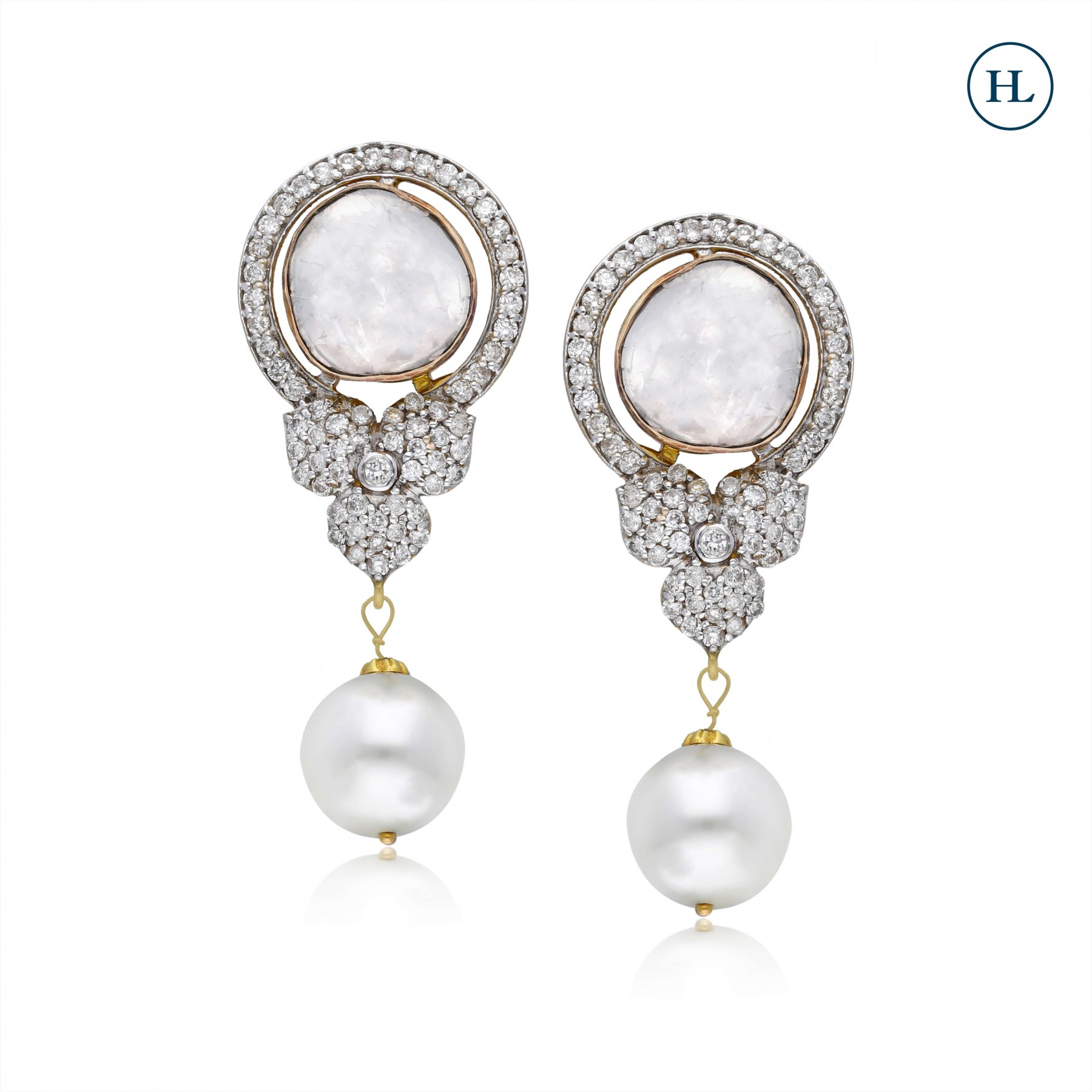 Pearl Diamond & Polki Earrings