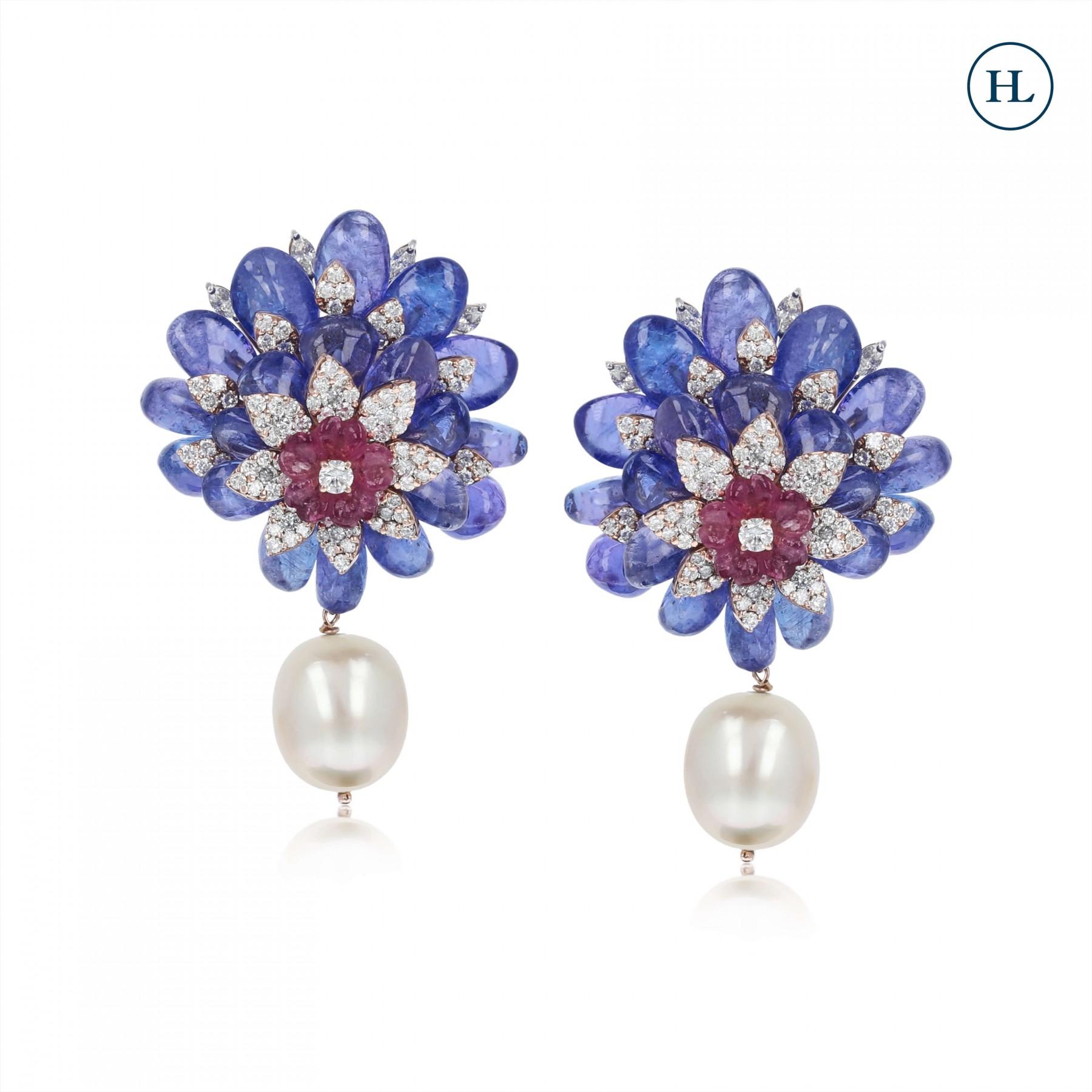 Flower Tourmaline & Diamond Earrings