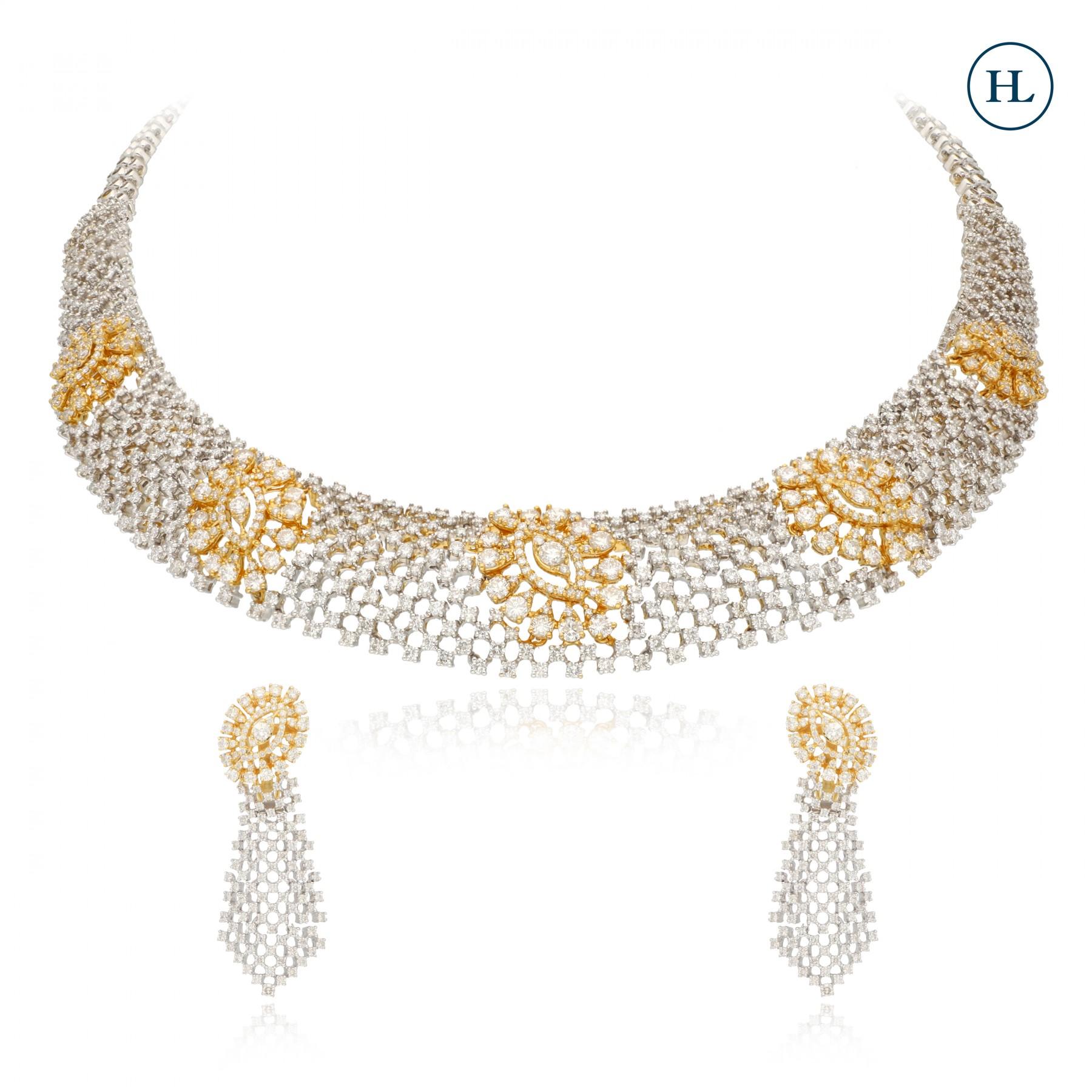 Criss Cross Diamond Necklace Set